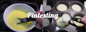 Melted butter and batter in muffin cups
