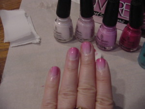 Ombre Nail Art - Blended and Top Coat