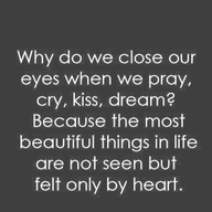 The most beautiful things in life are felt by the heart