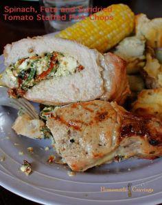 Pintesting - Spinach, Feta and Sundried Tomato Stuffed Pork Chops - Original Pin
