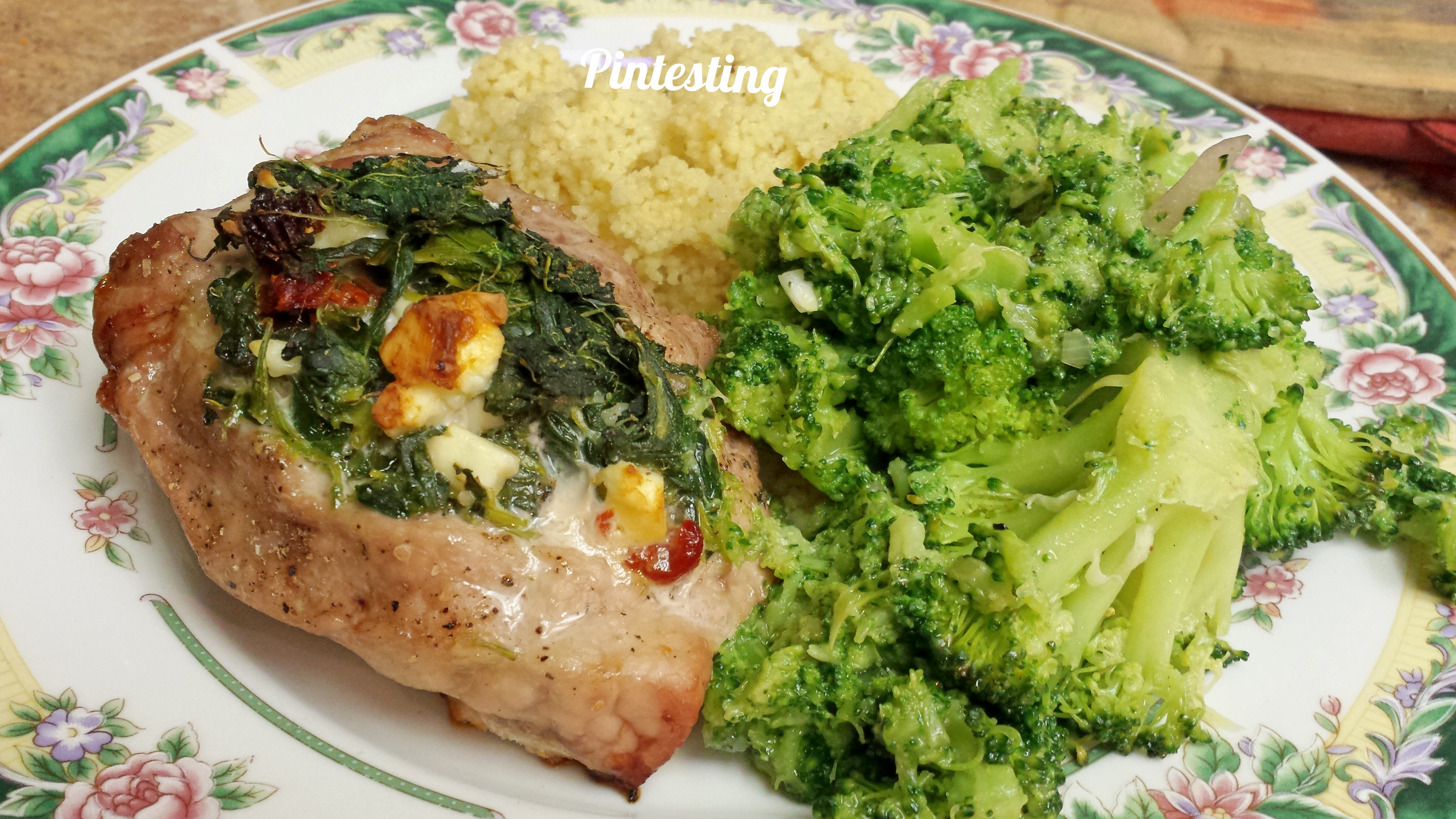 Pintesting - Spinach, Feta and Sundried Tomato Stuffed Pork Chops - Supper