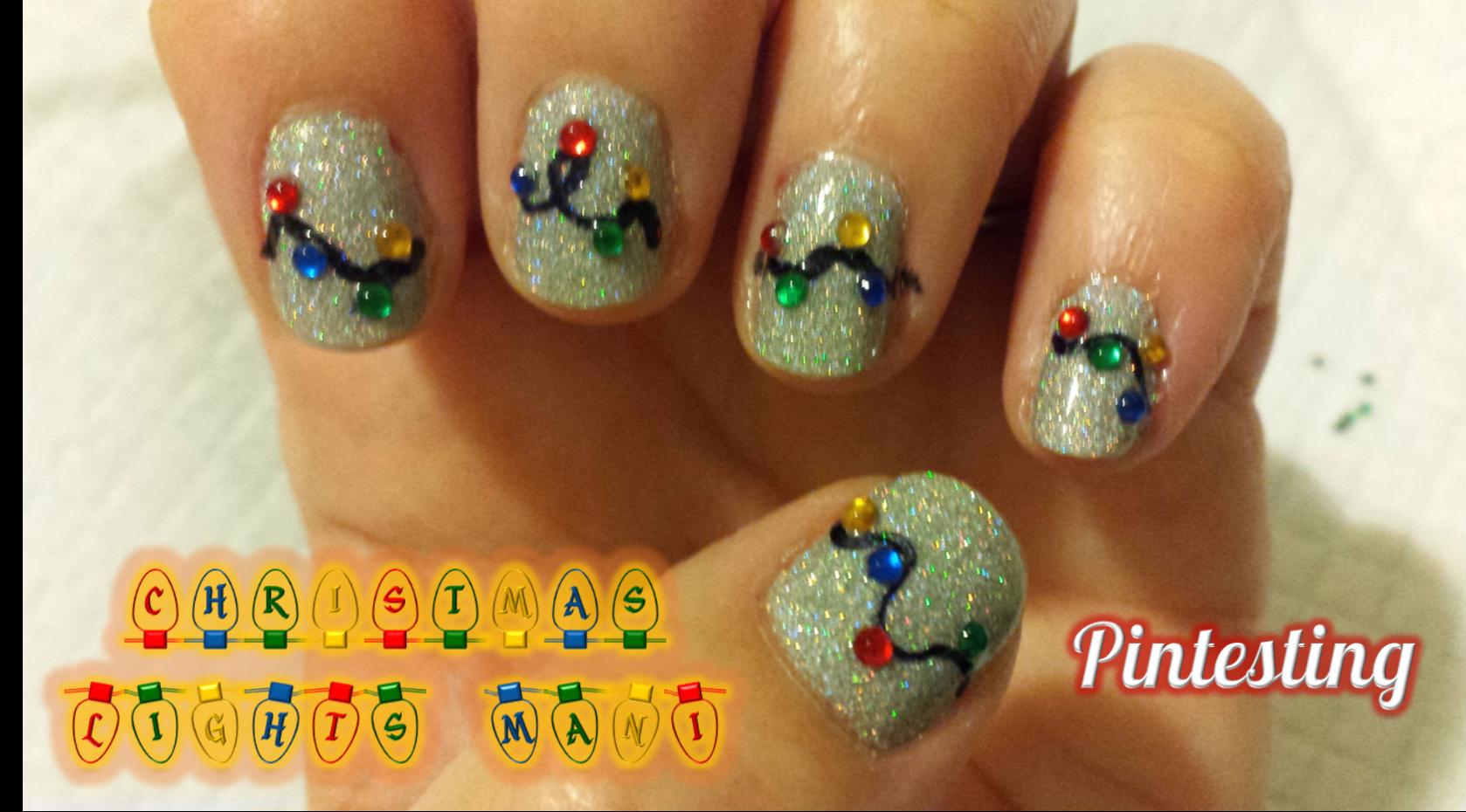Pintesting Christmas Lights Nails