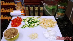 Pintesting Tuscan Lentil Soup - Ingredients