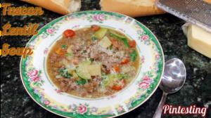 Pintesting Tuscan Lentil Soup - Served
