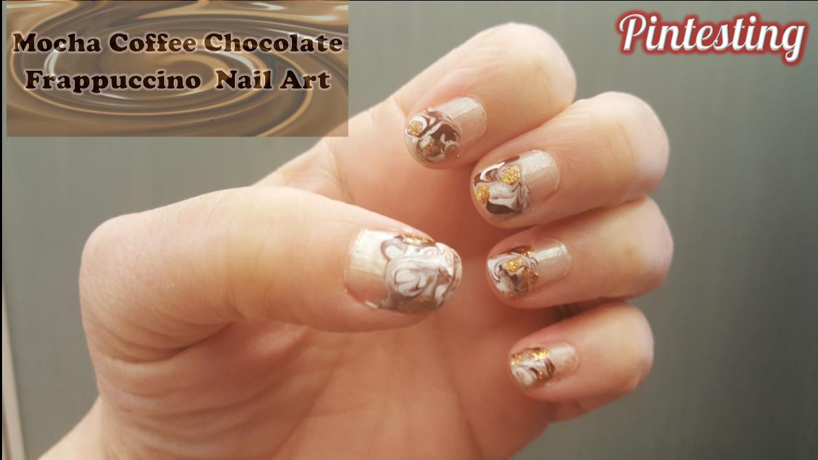 Mocha Coffee Chocolate Frappuccino Nail Art Pintesting