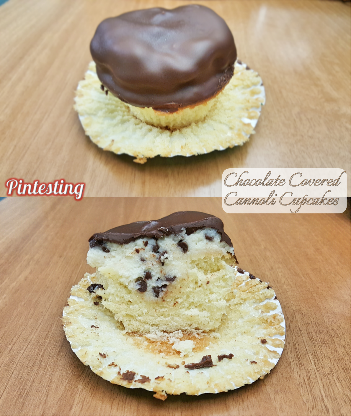 Pintesting Chocolate Covered Cannoli Cupcakes