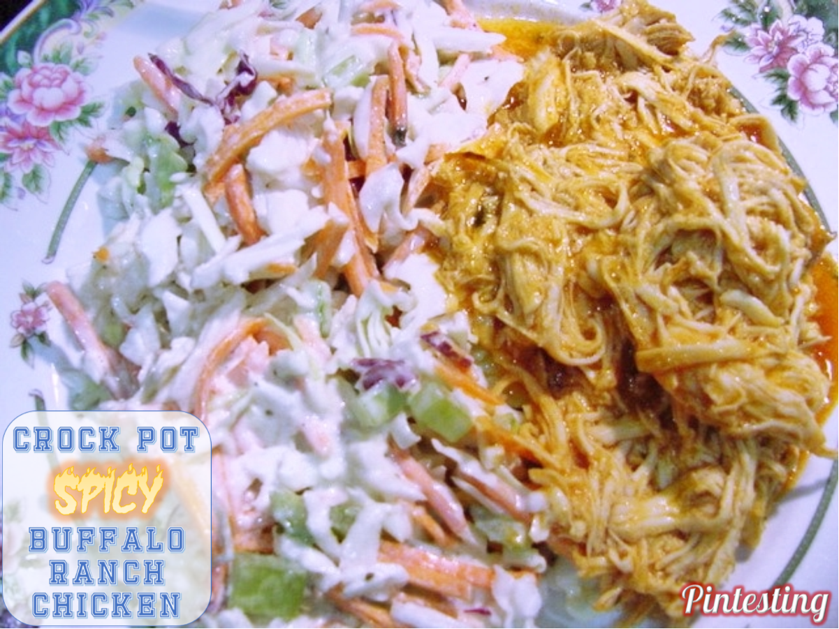 Pintesting Crock Pot Spicy Buffalo Ranch Chicken