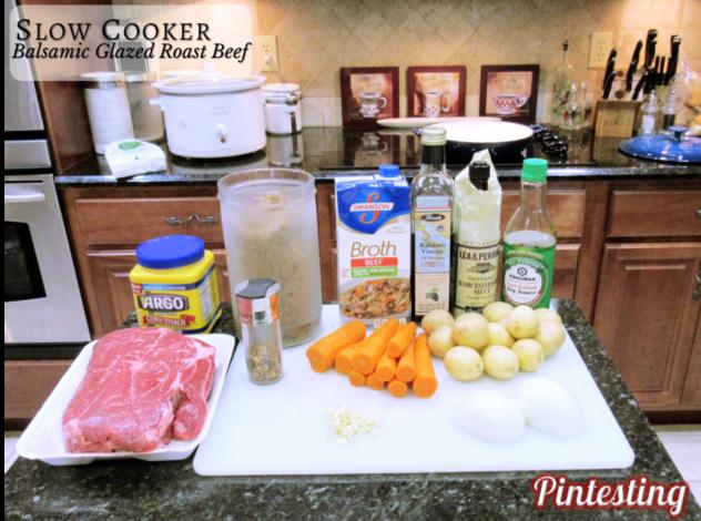Pintesting Slow Cooker Balsamic Galzed Roast Beef