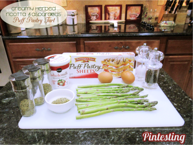 Pintesting Creamy Herbed Ricotta and Asparagus Puff Pastry Tart