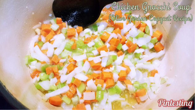 Pintesting Chicken Gnocchi Soup - Sautee until softened